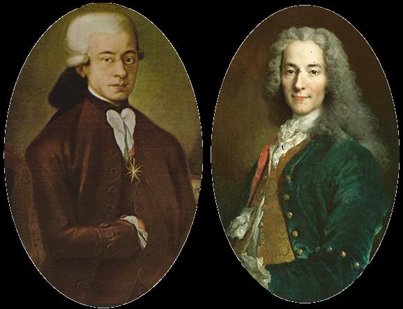 Franc-Maçon Mozart et Voltaire